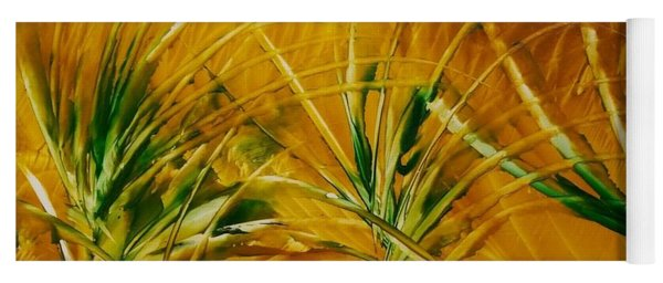 Abstract Yellow, Green Fields   Yoga Mat