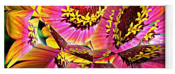 Abstract Yellow Flame Zinnia Yoga Mat
