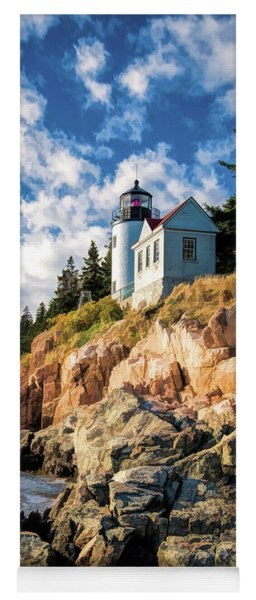 Yoga Mat featuring the painting Acadia Bass Harbor Lighthouse by Christopher Arndt