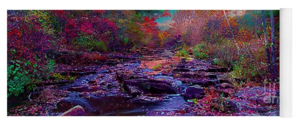 Acadia Maine Sunrise Stream Fall Yoga Mat