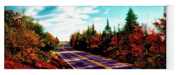 Acadia Natl Park Cadillac Mountian Road Fall Maine  Yoga Mat