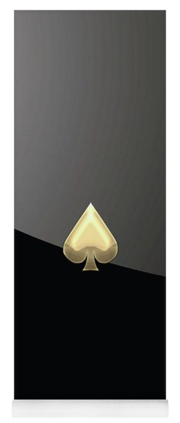 Ace Of Spades In Gold On Black   Yoga Mat