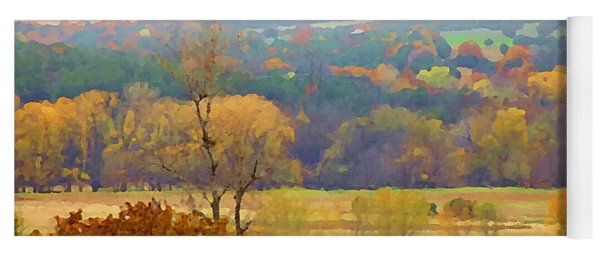 Across The River In Autumn Yoga Mat