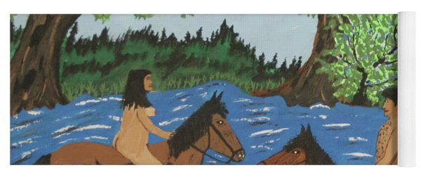 Adam And Eve Nude  Swimming On Horses Yoga Mat