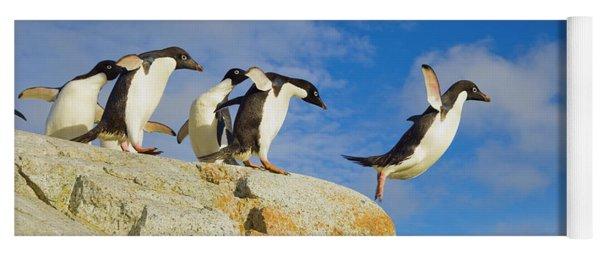 Yoga Mat featuring the photograph Adelie Penguins Jumping by Yva Momatiuk John Eastcott