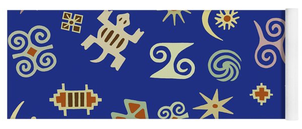 Adinkra Navy Folk Art Yoga Mat