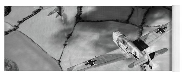 Yoga Mat featuring the photograph Adolf Galland Attacking Spitfire Bw Version by Gary Eason