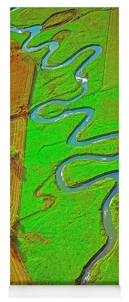 Aerial Farm Stream Pasture Fields Yoga Mat