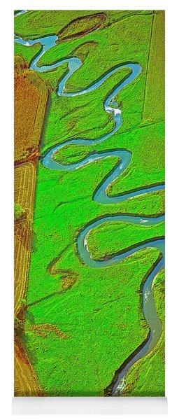 Aerial Farm Stream Pasture Fields Yoga Mat