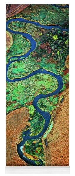 Aerial Farm Wet Lands Stream  Yoga Mat