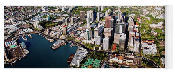 Aerial Panorama - Downtown - Honolulu, Oahu, Hawaii  Yoga Mat