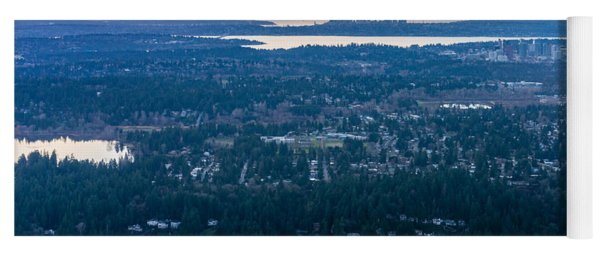 Aerial Seattle And Bellevue Skylines Across Lake Washington And Lake Sammamish Towards The Cascades Yoga Mat
