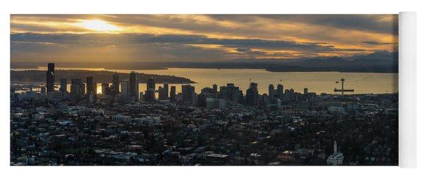 Aerial Seattle Skyline Panorama Looking West Yoga Mat