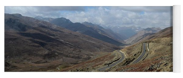 Aerial Shot Of Mountainous Karakoram Highway Babusar Pass Pakistan Yoga Mat