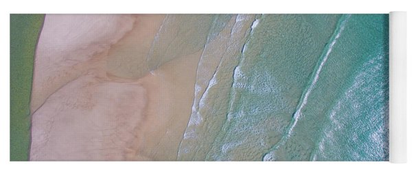 Aerial View Of Beach And Wave Patterns Yoga Mat