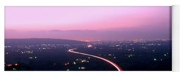 Aerial View Of Highway At Dusk Yoga Mat