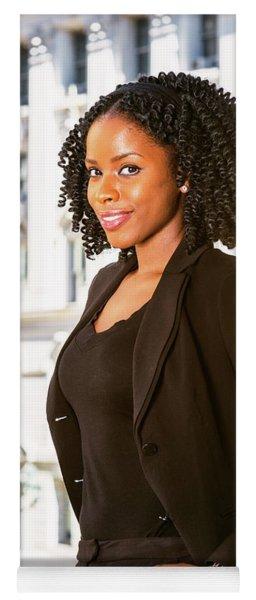 African American Businesswoman Working In New York Yoga Mat