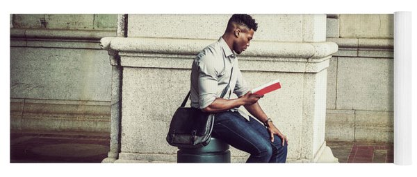 African American College Student Studying In New York Yoga Mat