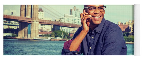 African American Man Traveling In New York Yoga Mat