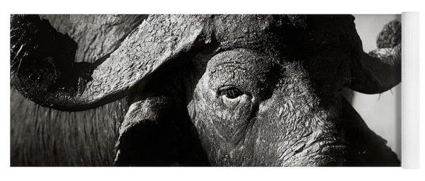 African Buffalo Bull Close-up Yoga Mat