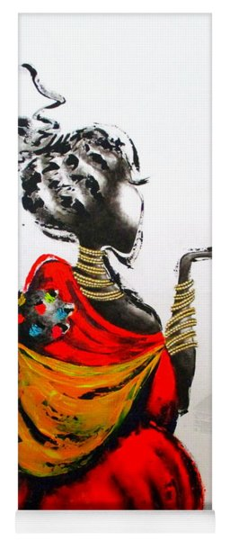 African Lady And Baby Yoga Mat