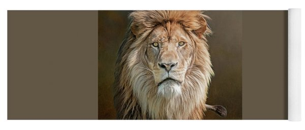 African Lion Portrait Yoga Mat