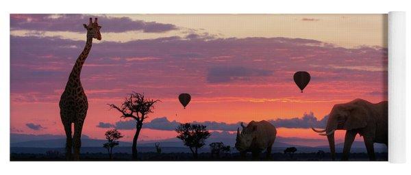African Safari Colorful Sunrise With Animals Yoga Mat