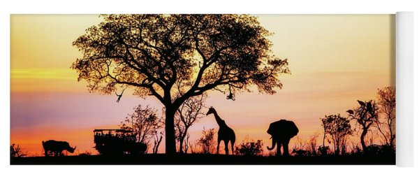 African Safari Silhouette Banner Yoga Mat