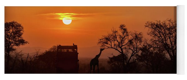 African Safari Sunset Silhouette Yoga Mat