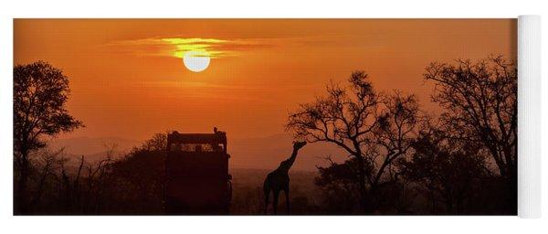African Safari Sunset Silhouette Yoga Mat
