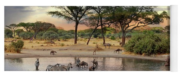 African Safari Wildlife At The Waterhole Yoga Mat