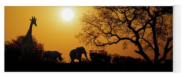 African Sunset Silhouette With Copy Space Yoga Mat