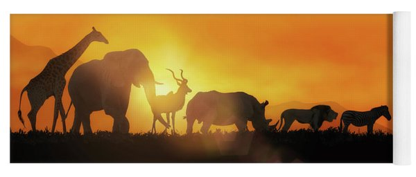 African Wildlife Sunset Silhouette Banner Yoga Mat