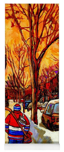 After The Hockey Game A Winter Walk At Sundown Montreal City Scene Painting  By Carole Spandau Yoga Mat