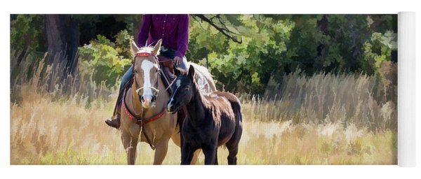 Afternoon Ride In The Sun - Cowgirl Riding Palomino Horse With Foal Yoga Mat