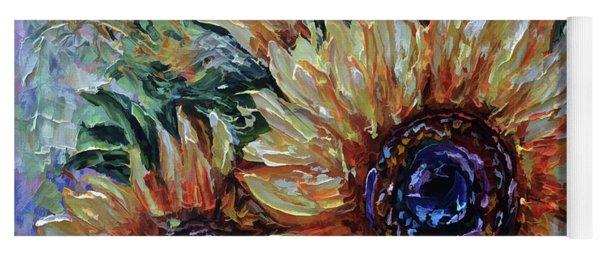 Ah, Sunflower Palette Knife Oil  Painting  Yoga Mat