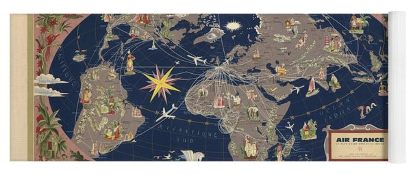Air France - Illustrated Map Of The Air Routes By Lucien Boucher - Historical Map Of The World Yoga Mat
