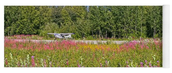 Airplane On Flower Landing Strip In Alaska Yoga Mat