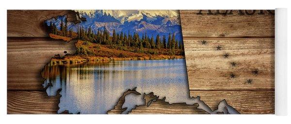 Alaska Map Collage Yoga Mat