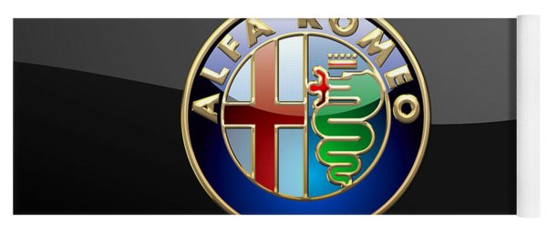 Alfa Romeo - 3 D Badge On Black Yoga Mat