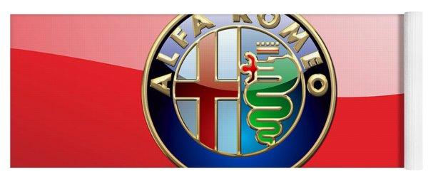 Alfa Romeo - 3d Badge On Red Yoga Mat