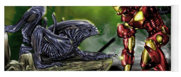 Alien Vs Iron Man Yoga Mat