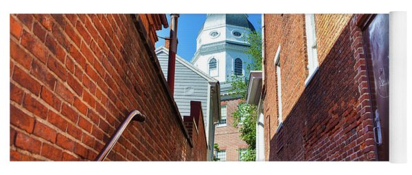 Alley View Of Maryland State House  Yoga Mat