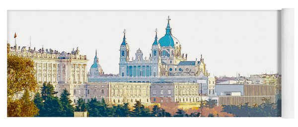 Almudena Cathedral And The Royal Palace Of Madrid Spain Yoga Mat