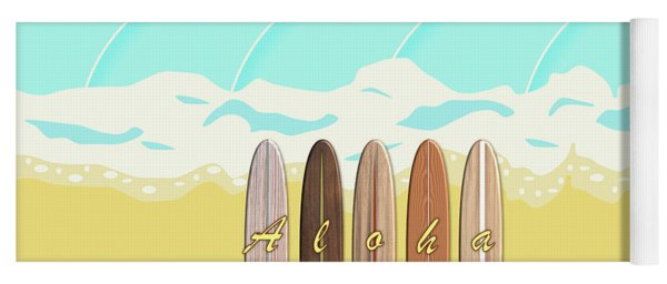 Aloha Surf Wave Beach Yoga Mat