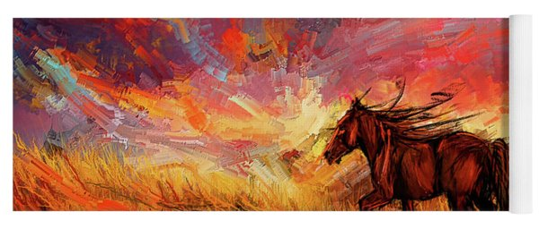 Alone In The Range - Horse At Sunset Yoga Mat
