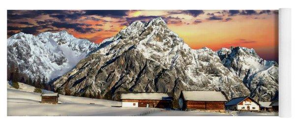 Alpine Winter Scene Yoga Mat