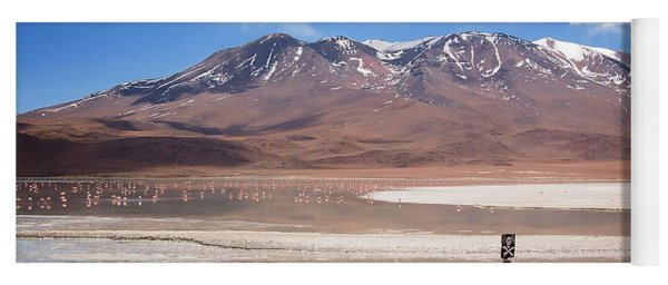 Altiplano Landscape With Volcano And Flamingos Yoga Mat