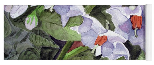 Amanda's Blue Potato Flowers Yoga Mat