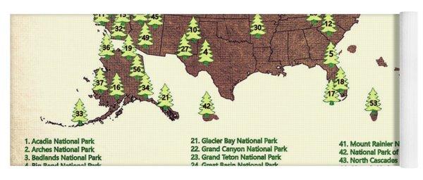 America National Parks Map Yoga Mat